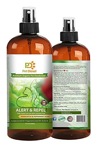 Pet Deodorizer By Pet Diesel | Organic Deodorant With Enzyme, Eucalyptus & Peppermint Essential Oils | Odor Elimination & Bacteria Removal, Pet Stains | For Dogs, Cats & (Bacteria Powder)