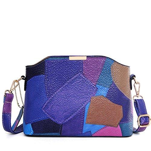 Wewod Bolso Bandolera de PU cuero el diseño de moda para Mujer 25* 18.5 * 10 cm (Largo * Alto * Grueso) Azul