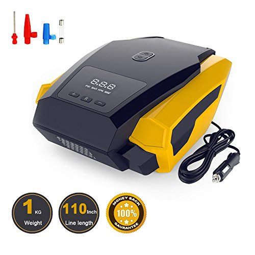 Portable Car Air Compressor,12V 150PSI Auto Digital Air Pump with LED Emergency Flashlight and Tire Pressure Monitoring for Car/SUV/ Ball/Bike/Airbed/Motorcycle and Other Tire Inflator(Dual Cylinder)