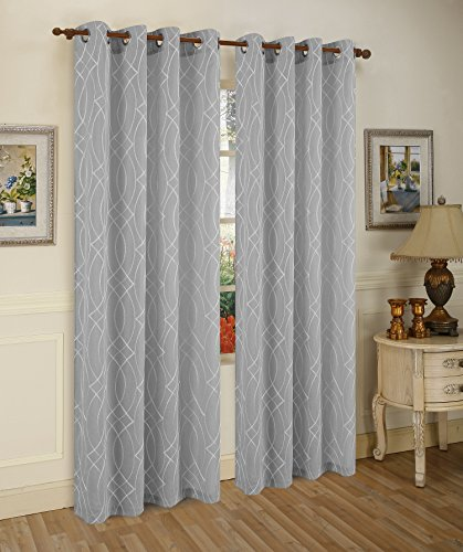 10' Metallic Bow (Traditional Elegance Metalic Spark Cadena de Plata Semi-Sheer Window Curtain Grommet Panel (52