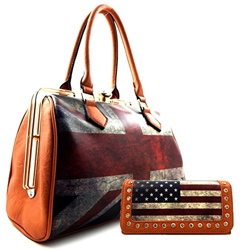 Union Jack Jewel Clutch 2 Way Satchel Bag SET Tan (Union Jack Satchel compare prices)