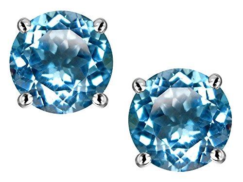 Star K 7mm Round Genuine Blue Topaz Screw Back Stud Earrings 14 kt White - Blue Screw Topaz