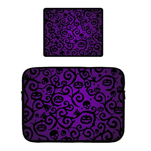 Water Resistant Tablet Sleeves Compatible for 13/15 inch Ultrabook/Chromebook Protective Computer Pouch Bag + Non-Slip Base Gaming Mouse Pad (Happy Halloween Purple Pumpkin) ()