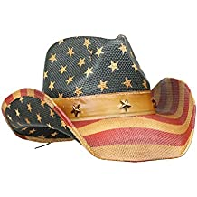 Vamuss MenÕs Vintage Tea-Stained USA American Flag Cowboy Hat w/Western Shape-It Brim