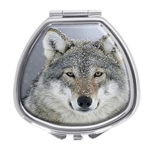 (Udoosun Predator Wolf Decorative Boxes Pill Box Silver Single Compartment Pocket Purse Travel Pill Case Medicine Tablet Holder Wallet)