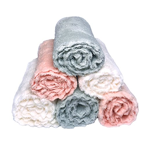 Baby Washcloths Plush Microfiber Baby Bath Towels Ultra Soft and Super Water Absorbent Face Towels for Baby and Adult Multi-Use Hand Towels Baby Registry as Shower Gift-6 Pack 12x12 inch by Catmomo