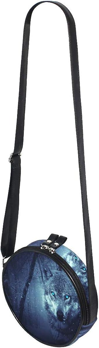 KEAKIA LORVIES Wolf In The Forest Round Crossbody Bag Shoulder Sling Bag Handbag Purse Satchel Shoulder Bag for Kids Women