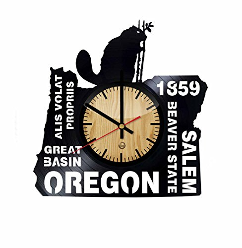 Oregon Record Wall Clock - Get unique of living room wall decor - Gift ideas for girls and boys – Salem Beaver State Unique Art Design -