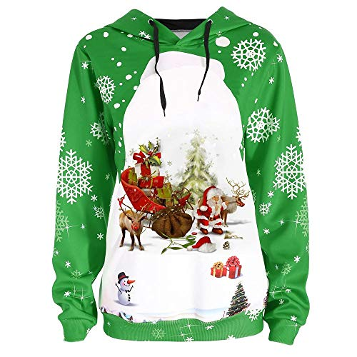 Christmas Sweatshirts for Women, Seaintheson Women's Santa Claus Snowflake Print Hooded Pullover Tops Winter Warm Blouse