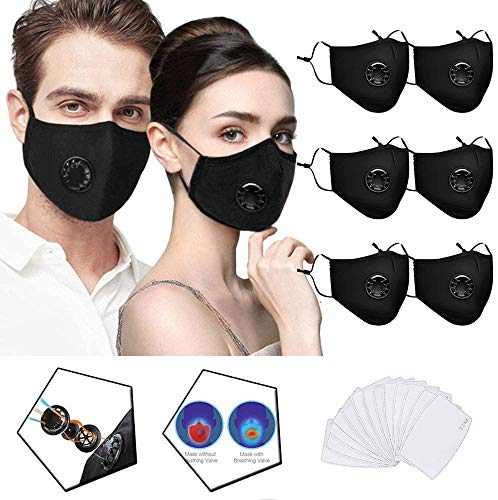 6 Pack Black Face Protection Cotton with 13 PCS Filter Pocket, with Breathing Valve, Replaceable Filters for Adults