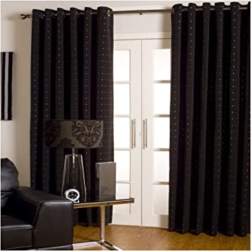 Kitchen Curtains black and silver kitchen curtains : Lined EYELET Curtains BLACK with SILVER Sparkles 66x54: Amazon.co ...