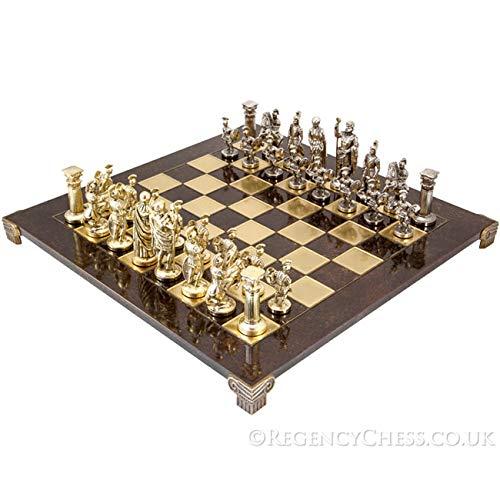 Roman Metal Chess - Manopoulos Large Greek Roman Army Metal Chess Set