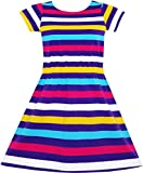 JF11 Girls Dress Colorful Striped Knitted Cotton Stretch School Size 4