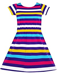 Sunny Fashion Girls Dress Colorful Striped Knitted Cotton Stretch School