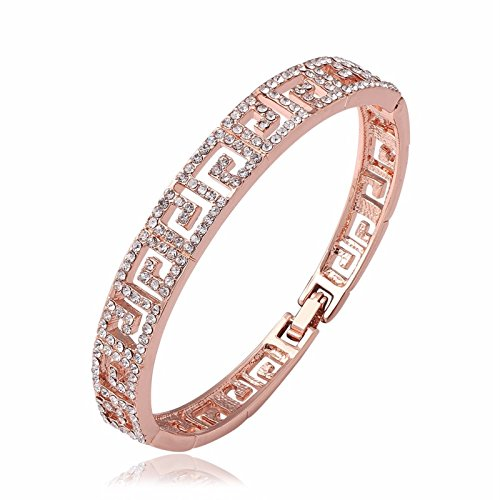 ptk12 Luxury Brand Jewelry Rose Gold Colour Cuff Women Bangle Inlay Clear Austrian Crystal Letter G ()