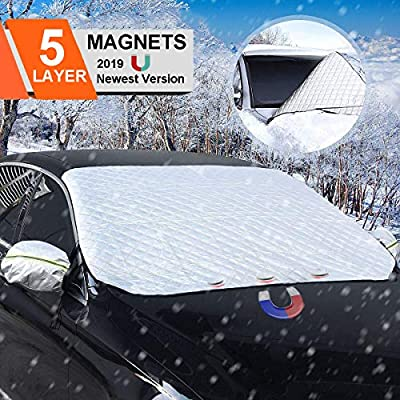 BACKTURE Car Snow Cover 158 * 120 cm Windscreen Frost Cover Snow Cover Windshield Snow Cover with Ears Sun Dust Water Resistant Shade Protector Morning Time Saver for Cars SUV in all Weather