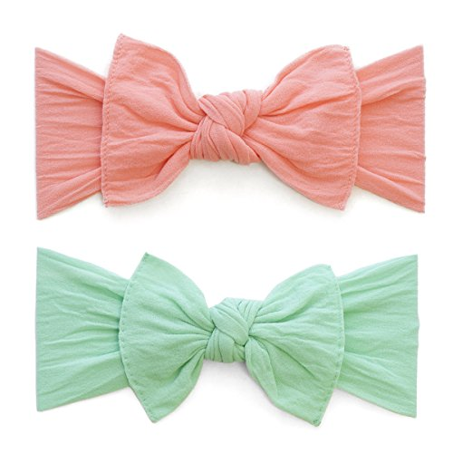 Baby Bling Bow 2 Pack: Classic Knots Girls Baby Headbands - MADE IN USA - Coral/Mint