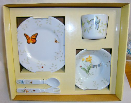 5 Piece Childrens Melamine Plastic Dining Set Butterfly Meadow By Lenox