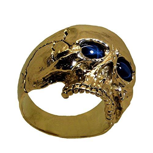 UNIQABLE 14K Yellow Gold Skull Sapphire Ring Biker Harley Memento Mori Masonic SK04SAPY14K (12) (Sapphire Biker Ring)