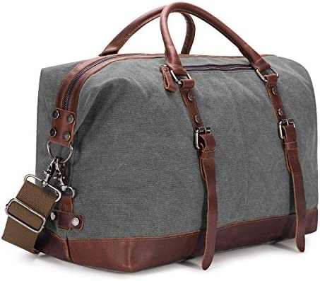 BAOSHA Canvas PU Leather Travel Tote Duffel Bag Carry on Bag Weekender Overnight Bag