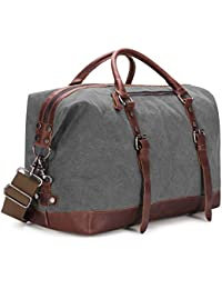 Canvas PU Leather Travel Tote Duffel Bag Carry on Bag Weekender Overnight Bag