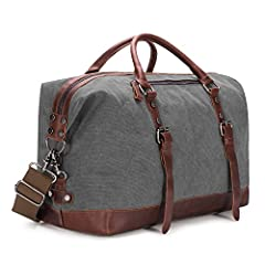 Material: High quality canvas/PU Leather(PU Leather is not Real Leather But Like the Real Leather)+ Ajustable Shoulder strap + Smooth Zipper. The duffel bag is classic military style. Oversized Size:54cm*33cm*24cm(L*H*D)/21.3''*13''*9.4''(L*...