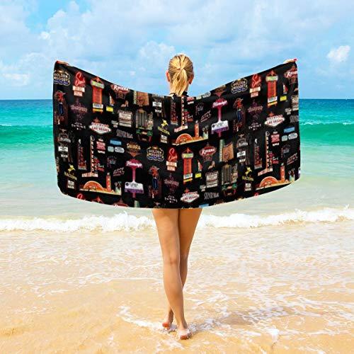NiYoung Beach Towel Large Beach Blanket Towel Ultra Soft Super Water Absorbent Multi-Purpose, Las Vegas Skyline, 40