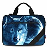iColor 15' Canvas Laptop Shoulder Messenger Bags 14' 15.4 Inch Briefcase 15.6' Computer PC Notebook Tablet Handle Cases Carrying Sleeve Cover Holder (14'~15.6', Cool Wolf)