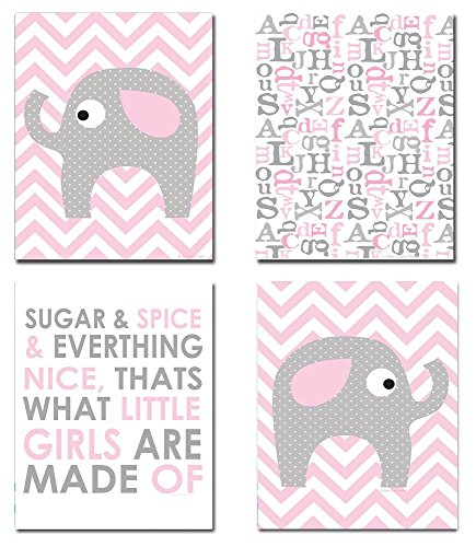 (The Kids Room By Stupell Grey Elephant On Pink And White Chevron Sugar And Spice 4-Pc Rectangle Wall Plaque Set, Proudly Made in USA)
