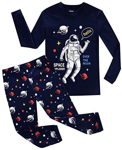 Astronaut Clothing - Joyond Little Boys Pajamas Set Astronaut Kids 100% Cotton Sleepwears Long Sleeve Clothes Toddler PJS Set(TKR 2T)