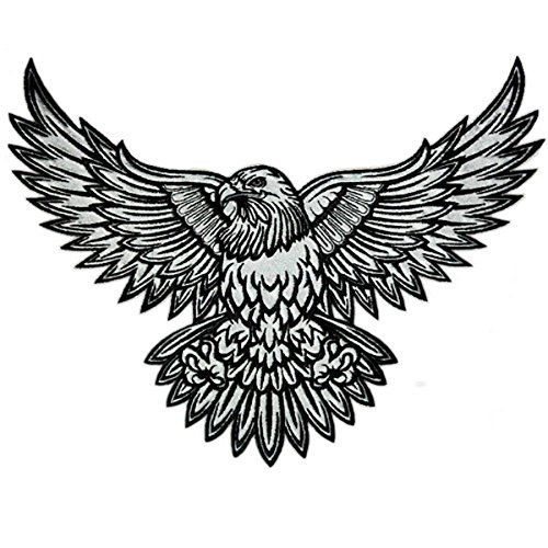 VEGASBEE AMERICAN EAGLE REFLECTIVE EMBROIDERED PATCH TATTOO INK STYLE DESIGN SIZE LARGE 12