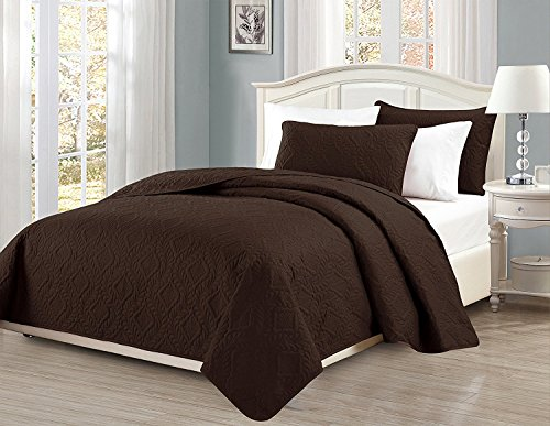 Linen Plus King/California King 3pc Embossed Coverlet Bedspread Set Diamond Pattern Over Size Chocolate/Brown (Bedspread Chocolate)