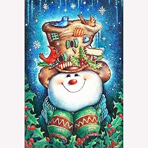 DIY Oil Painting Paint By Number Kit- Christmas Snowman Happy Without Wooden Frame