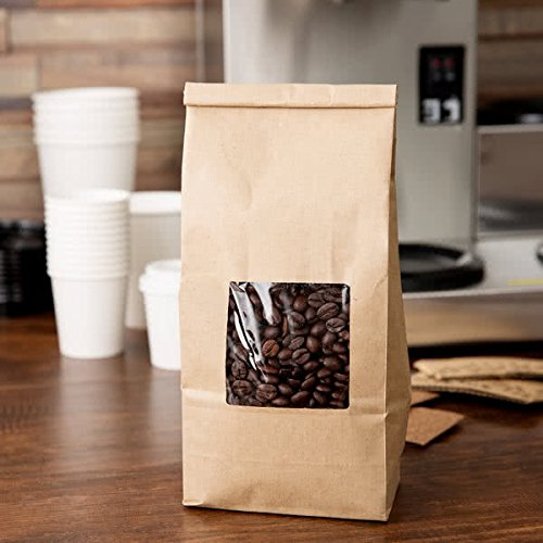Treat See (Bakery Bags with window 1/2 LB Kraft 25 Pack- KRAFT 1/2 lb tin tie coffee bakery bags w/window)
