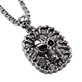 "Winter's Secret Hip-hop Boys Europe and America Oval Box Chain 22.44"" Single Chunky Skull Pendant Necklace"