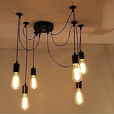 ONEVER E27 Loft Antique Chandelier Modern Chic Industrial Dining Light  Ajustable DIY Ceiling Spider Light Pendant
