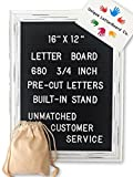Black Felt Letter Board with 680 Letters and Symbols, [16x12 inches] Changeable Framed Felt Bespoke Rustic Message Board with Retractable Stand, Wall Mount and 2 Free Canvas Bag