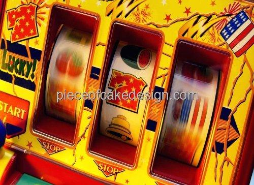 """6"""" Round ~ Casino Lucky 7 Slot Machine Birthday ~ Edible Image Cake/Cupcake Topper!!!"""