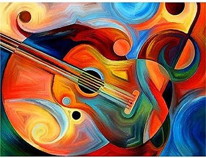 FHGFB Guitarra Música DIY Completo Diamante Diamante Pintura Casa Decoración Nueva Dream House Mosaico Decoración -40x60cm Sin Marco