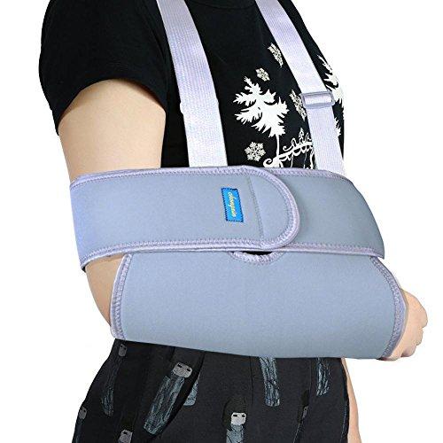 Adjustable Shoulder Arm Sling, Swathe Brace Reinforced Immobilizer Broken Forearm for Men or Women Kid