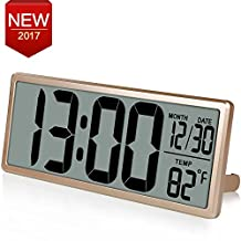 "13.8"" Jumbo LCD Display Alarm Clock with Oversize Digits, Large Digital Wall Clock Displays Time /Date /Temperature, Desk Clock with Snooze, Battery Backup, Button Cell Battery Included,Gold"