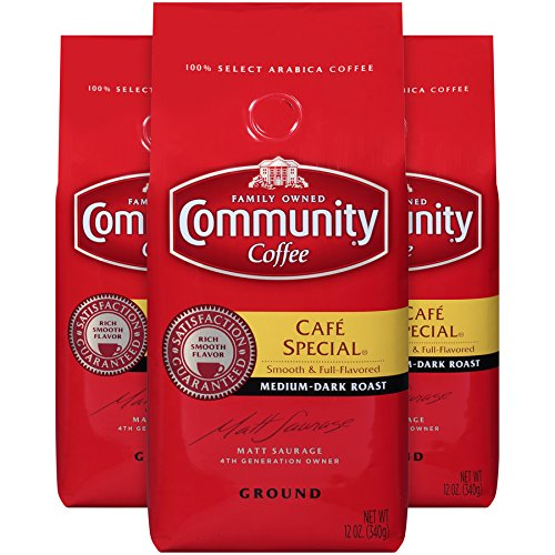 Community Coffee Café Special Medium Dark Roast Premium Ground 12 Oz Bag (3 Pack), Full Body Rich Flavorful Taste, 100% Select Arabica Coffee Beans