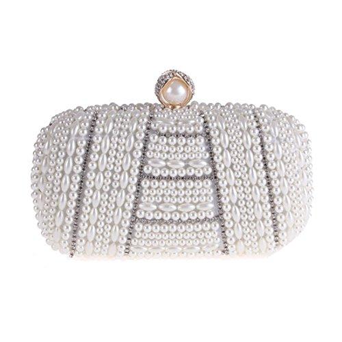 Shoulder Silver Rhinestone Pearl Bag Black Crossbody KERVINFENDRIYUN Color Bag Satin Clutch Party Purse Handbag Evening 6BC1Tzpqw
