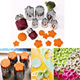 8pcs/set Stainless Steel Flower Shape Rice Vegetable Fruit Cutter Mold Slicer Cake Cookies Cutting Shape Cake Baking Tools DIY