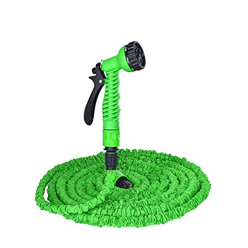 bububushido 75ft/22m Garden Hose Pipe green Flexible Extension Hosepipe Anti Kink with Spray Nozzle Valve and Hose Holder (Kink Hose Valve)
