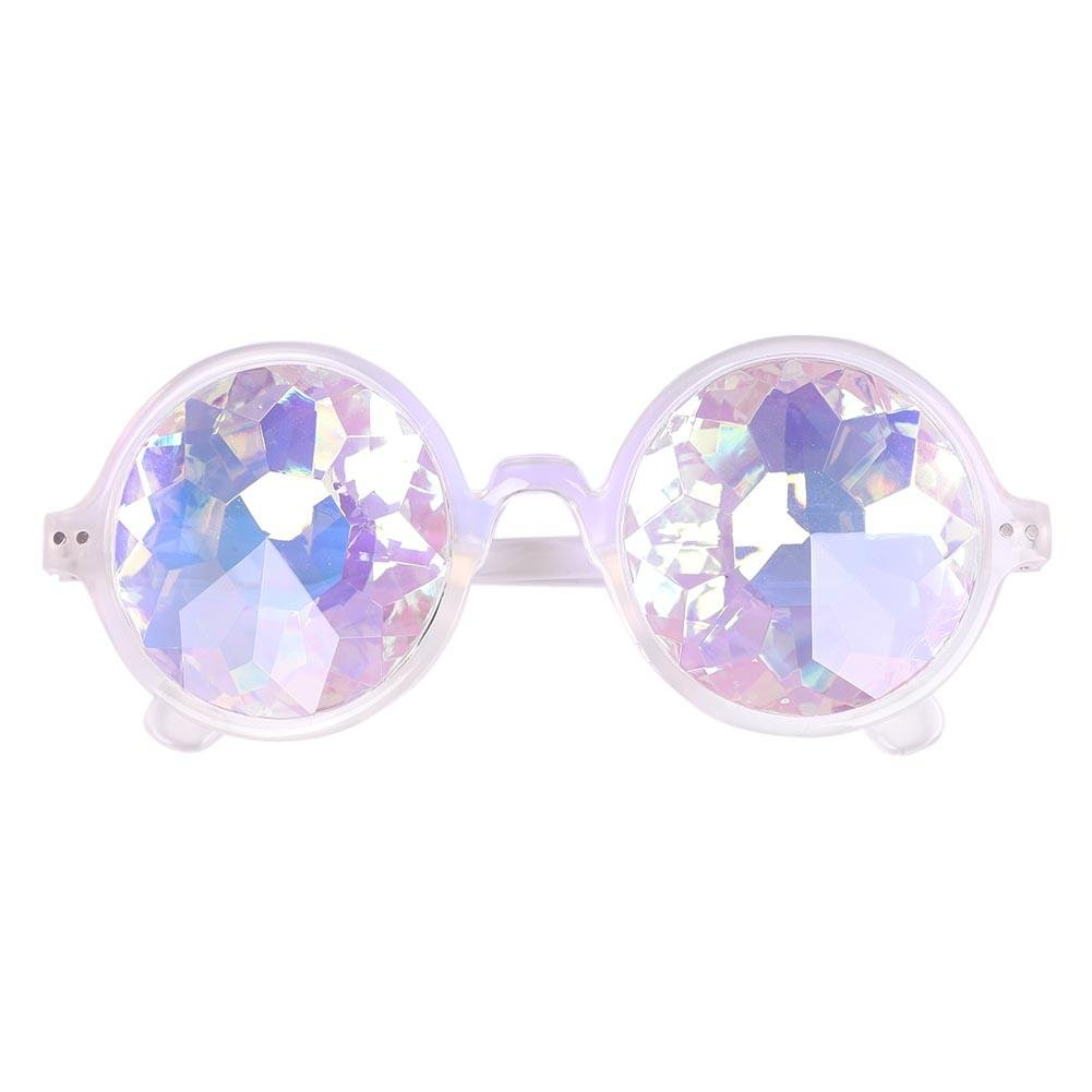 Men Women Party Holographic Dazzle Sunglasses Round Kaleidoscope Glasses(3) AFfeco