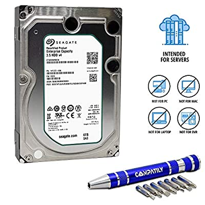 Seagate 6TB 7.2K SAS 12Gb/s 128MB Cache 3.5in | 512n | ST6000NM0034 | Enterprise Capacity 3.5 HDD Bundle with COMPATILY Aluminum Hard Drive Carrier Screw Kit (Renewed) w/ 3 Year Warranty