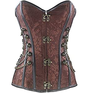 Burvogue Women Steampunk Corset Steel Boned Gothic Bustier