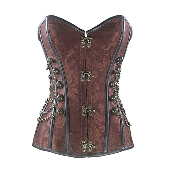 Burvogue Women Steampunk Corset Steel Boned Gothic Bustier 3