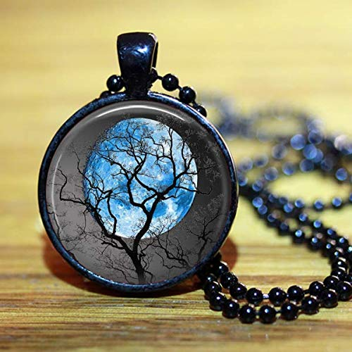 Blue Full Moon Necklace Round Handmade Jewelry Black Pendant